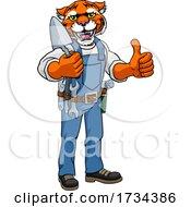 Poster, Art Print Of Tiger Bricklayer Builder Holding Trowel Tool