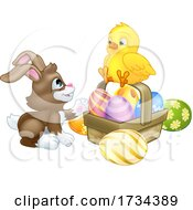 Easter Bunny Rabbit With A Basket And Chick