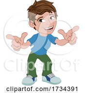 Poster, Art Print Of Boy Kid Cartoon Child Character Pointing