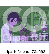01/07/2021 - Scientist Working In Laboratory With Microscope