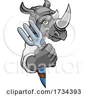 Poster, Art Print Of Rhino Gardener Gardening Animal Mascot