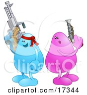 Blue Bean Character Wearing A Read Headband And Holding A Big Machine Gun While A Disadvantaged Pink Bean Character Holds A Puny Little Gun