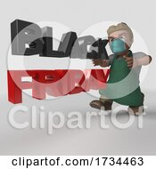 3D Shop Keeper Wearing A Mask On A Shaded White Background by KJ Pargeter