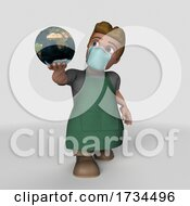 Poster, Art Print Of 3d Shop Keeper Wearing A Mask On A Shaded White Background