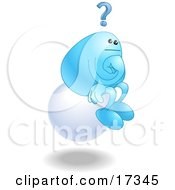Poster, Art Print Of Blue Bean Character Sitting On A Floating White Sphere And Thinking Resembling The Thinker By Auguste Rodin