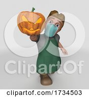 3D Shop Keeper Wearing A Mask On A Shaded White Background