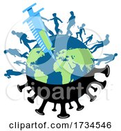 Poster, Art Print Of Vaccine Needle Injected Into Earth With People Walking On The Globe