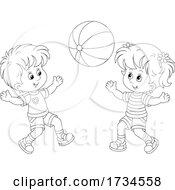Poster, Art Print Of Boy And Girl Playing With A Beach Ball