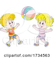 Poster, Art Print Of Kids Playing With A Beach Ball