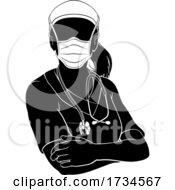 Doctor Nurse Woman PPE Mask Scrubs Silhouette