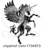 Pegasus Unicorn Rearing Rampant Crest Wings Horse
