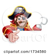 Poster, Art Print Of Pirate Captain Cartoon Thumbs Up Sign Background