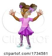 Poster, Art Print Of Black Little Girl Cartoon Child Kid Waving