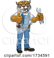 Wildcat Plumber Or Mechanic Holding Spanner