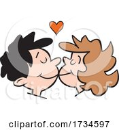 Poster, Art Print Of Cartoon Couple Kissing