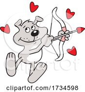 Poster, Art Print Of Cartoon Valentine Dog Cupid With A Bow And Arrow