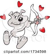 Cartoon Valentine Dog Cupid With A Bow And Arrow by Johnny Sajem