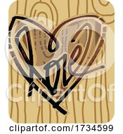 Poster, Art Print Of Valentine Love Heart Carved On Wood