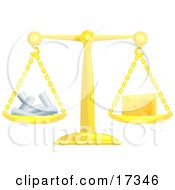 Golden Scale Balanced With Chalk On The Left Side And A Wedge Of Swiss Cheese On The Right Side Clipart Illustration