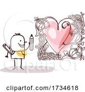 Stick Man Artist With A Love Heart