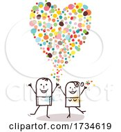 Poster, Art Print Of Stick Couple With A Love Heart