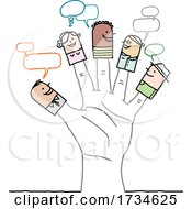 Poster, Art Print Of Stick People Finger Puppets On A Hand