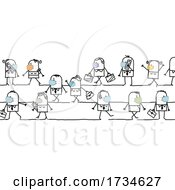 Poster, Art Print Of Stick People Walking And Wearing Masks