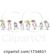 Poster, Art Print Of Stick Men With Flowers And Umbrellas
