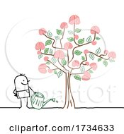Stick Man Watering A Brain Tree