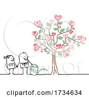 Poster, Art Print Of Stick Couple With A Love Tree