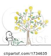 Poster, Art Print Of Stick Man Watering A Light Bulb Idea Tree