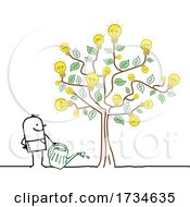 Stick Man Watering A Light Bulb Idea Tree