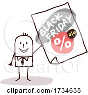 Poster, Art Print Of Stick Man With A Black Friday Sale Ad