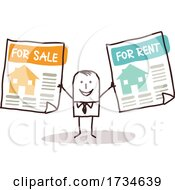 Poster, Art Print Of Stick Man With Housing Ads