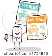Poster, Art Print Of Stick Man Offering Cars For Rent Or Sale