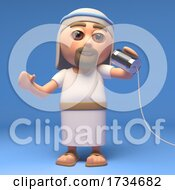 3d Cartoon Jesus Christ The Christian Saviour Chatting On Tin Can Phone