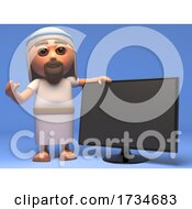 3d Cartoon Jesus Christ Holy Saviour Has A New Widescreen Television Monitor