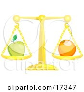 Golden Scale Balanced With A Green Apple On The Left Side And An Orange On The Right Side Symbolizing Opposites Clipart Illustration by AtStockIllustration