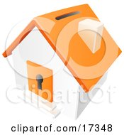 Orange And White House With A Coin Slot On The Roof And A Keyhole In The Door Clipart Illustration