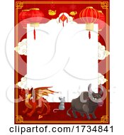 Poster, Art Print Of Chinese Lantern And Zodiac Border
