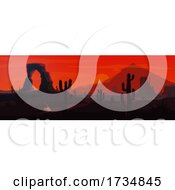 Desert Sunset Landscape by Vector Tradition SM