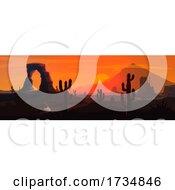 Desert Sunset Landscape by Vector Tradition SM