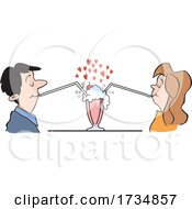 Social Distanced Couple Sharing A Soda On Valentines Day