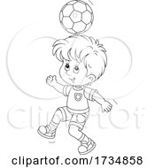 Poster, Art Print Of Black And White Boy Bouncing A Soccer Ball Off Of His Head