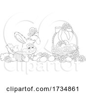 Bunny With A Basket Of Easter Eggs And A Butterfly