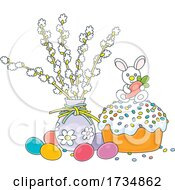 Easter Cake And Eggs By A Vase