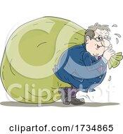 Greedy Rich Man Pulling A Giant Money Bag