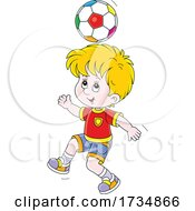 Poster, Art Print Of Boy Bouncing A Soccer Ball Off Of His Head