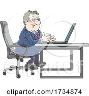 Poster, Art Print Of Chubby Businessman Working At A Desk