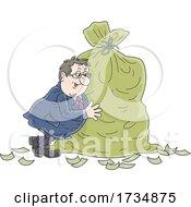 01/16/2021 - Chubby Businessman Pushing A Sack Of Money